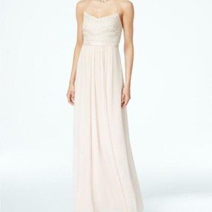 Adrianna Papell Blush Beaded Chiffon Gown